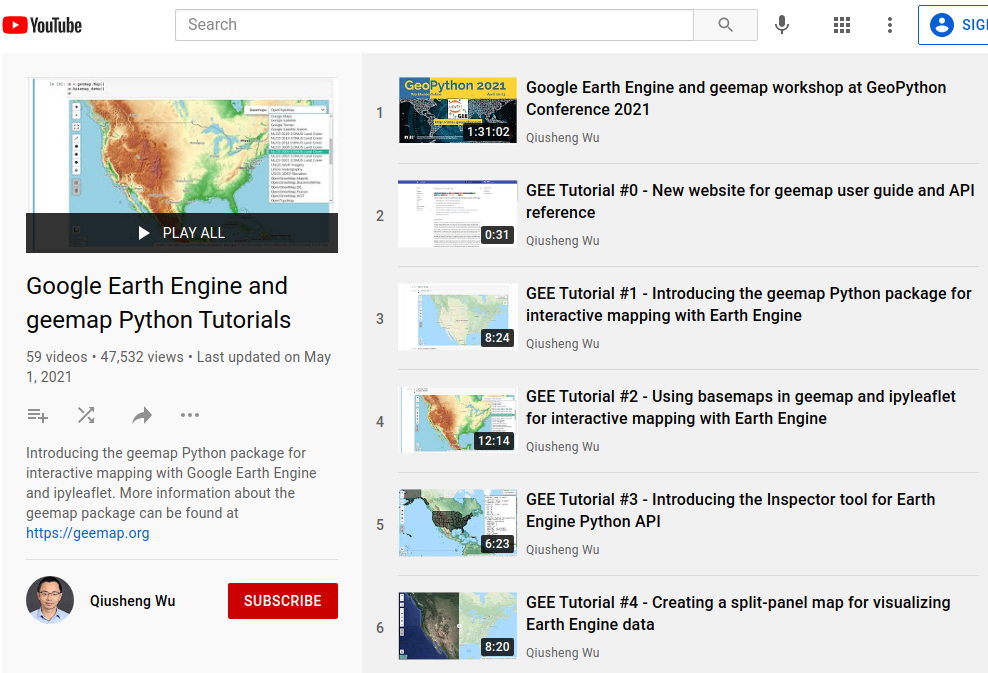 Earth Engine Tutorials on YouTube